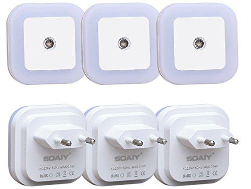 [neue Version] SOAIY® 6er-Set LED Nachtlicht 0,5W energiesparend Steckdosenlicht mit Dämmerungssensor automatisch Orientierungslicht Sensor Leuchte