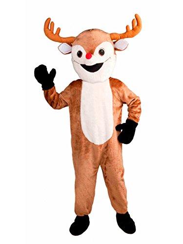 Forum Novelties Men's Deluxe Reindeer Mascot Adult Costume, Brown, Standard -