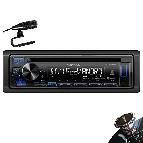 Kenwood KDC-BT23 Single DIN Bluetooth in-Dash CD/AM/FM Car Stereo Receiver w/Dual Phone Connection, Spotify Control + Gravity Magnet Holder
