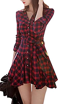 ARTFFEL Womens Long Sleeve Button Up Belted Flared Plaid Shirts Dress