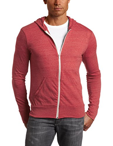 Alternative Men's Eco Zip Hoodie Sweatshirt, Eco True Fig, Medium
