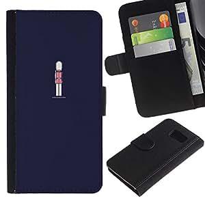 KingStore / Leather Etui en cuir / Samsung Galaxy S6 / Azul marino Guardia Real