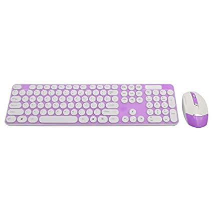 DealMux 2.4G Optical Teclado Wireless Mouse Teclado Film Kit Fuchsia para PC portátil