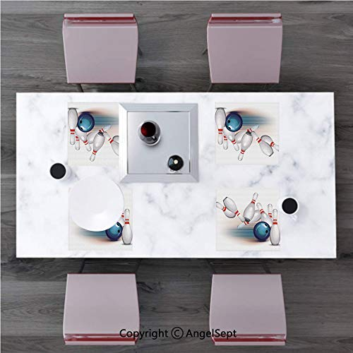 Geometric Polyester 4Pcs Placemats Dining Table Mats,Handcrafted Machine Washable,Bowling Party Decorations,Thrown Ball Scattered Pins Speed Hit Target Shot Score Decorative,White Light (Target Rug Jute)