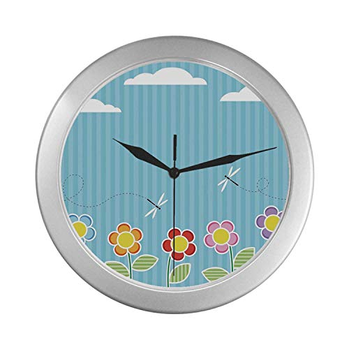 C COABALLA Dragonfly Simple Silver Color Wall Clock,Kids Playroom Children Floral Girls Daisy Blooms Under Cloudy Sky Cartoon for Home Office,9.65