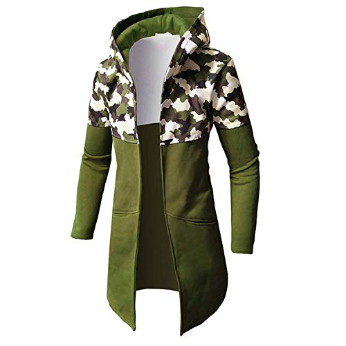 Soluo Mens Winter Hood Jacket Casual Lightweight Camouflage Printed Mid Long Coat Jacket Pullover Outwear Tops