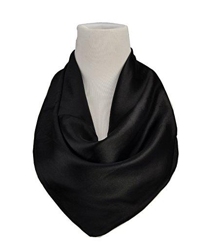 Silk Mens Neckerchief (Fashion Solid Colors Classic Square Neck Head Scarf for Men Lightweight (Black))