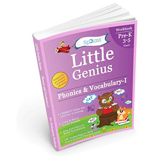 Phonics & Vocabulary: Pre Kindergarten Workbook (Little Genius Series): Learn Pronunciation of Short & Long Vowels, Consonants and Build Vocabulary (3-5 years)