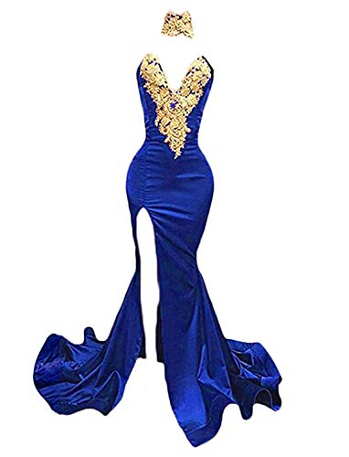(TTYbridal Mermaid Prom Dress Sexy High Neck Lace Evening Celebrity Formal Dresses P44 Royal Blue 20)