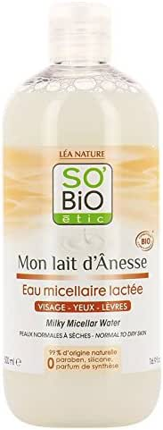 SO' BIO ETIC - Mon Lait d'Ânesse - Micellar Water - With Donkey Milk - Sweetness - Moisturizing and Soothing - 99% natural - Perfect cleansing - Nourishing - 500 ml