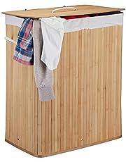 Relaxdays Wasmand bamboe met deksel, rechthoekige wasverzamelaar, 2 vakken, 95 l volume, opvouwbare wasbox, naturel