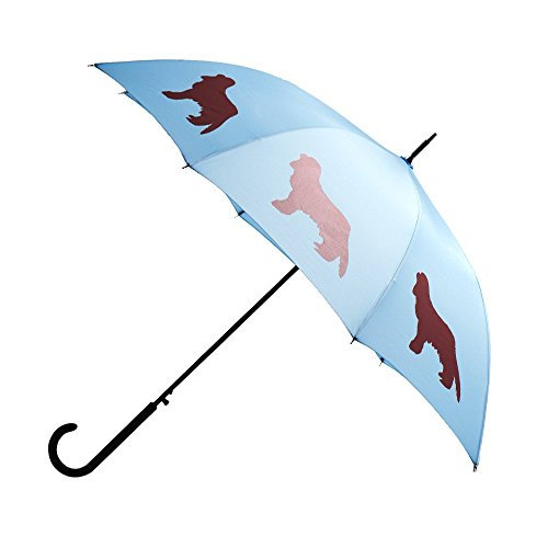 Spaniel Umbrella - Cavalier King Charles Spaniel Premium Rain Umbrella (Lapis Blue/Red) By San Francisco Umbrella Co.