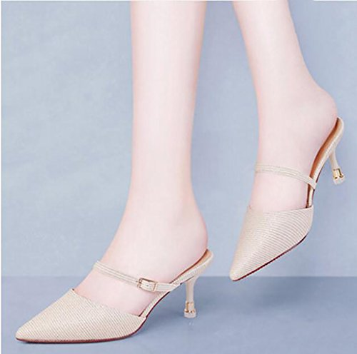summer stylish Fashion Size and sandals sandals Color B Flat Sandals Baotou lazy high wear sandals 39 slippers slippers B heel fine shoes half female fq0xTx4n1t