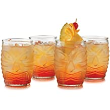 Libbey 4 Piece Modern Bar-Tiki Double Old Fashioned Glass Set, One Size, Clear