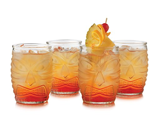 4 Piece Tiki Double Old Fashioned Glass Set