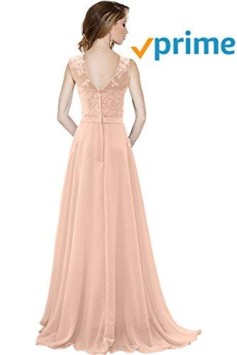 Bride Modisch Spitze Festkleider Rundkragen Chiffon A Tuell Lang Linie Ballkleider Abendkleider Perlenrosa Schleppe Gorgeous gqC5xHq