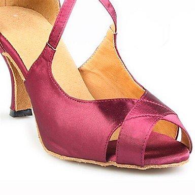 XIAMUO Anpassbare Women's Ballroom Latin Dance Schuhe Satin Salsa Sandalen/Fersen angepasste Ferse Innen-/Leistung Pink, Pink, US 9.5-10/EU 41/ UK 7,5-8/CN 42