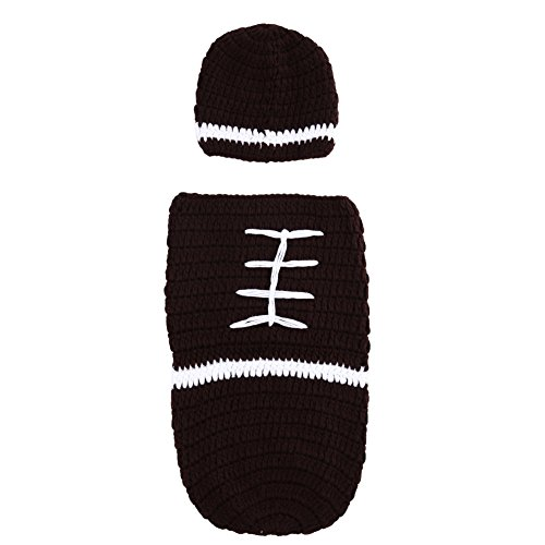 Baby Boy Football Costume (Chinatera Newborn Football Costume Baby Photo Photography Props Handmade Crochet Knitted Outfit Set Cap and Sleeping Bag (0-2M))
