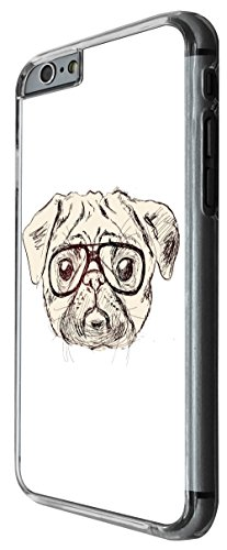 959 - Cool cute fun pug art illustration doodle ner glasses funny love pet dogs Design For iphone 6 Plus / iphone 6 Plus S 5.5'' Fashion Trend CASE Back COVER Plastic&Thin Metal -Clear