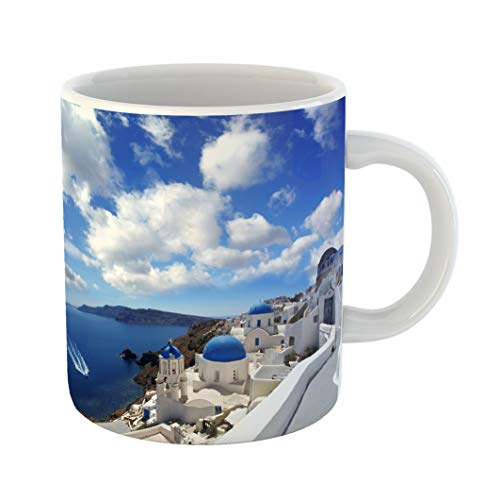 Emvency Coffee Tea Mug Gift 11 Ounces Funny Ceramic Aegean Amazing Santorini Churches and Sea View in Greece Greek Gifts For Family Friends Coworkers Boss Mug