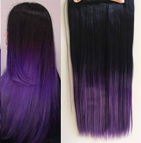 Long Thick One Piece Half Head Straight Ombre Clip in Hair Extensions (Col. Natural black to Purple) -