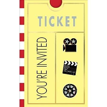 Amscan International Ticket Einladung Zur Hollywood Party Filmabend 8 Stück  Blister