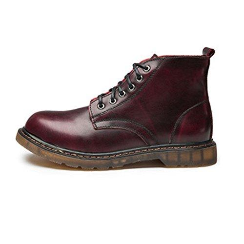 Zapatos shoes De Tobillo Tamaño Tacón Caballeros Eu Con Clásico Oxfords Para Cuero Marrón Alto 37 Xiazhi Cordones color Rojo Hombre 4x15dw1q