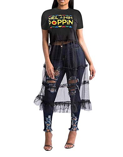Mesh Ladies Pumps - OLUOLIN Women Sexy Short Sleeve Letter Graphic Print Stripe Sheer Mesh Layered Long Maxi Dress