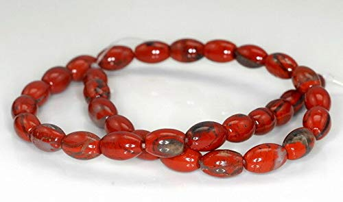 - 12X8MM RED BRECCIATED Jasper Gemstone Barrel Drum Loose Beads 15.5