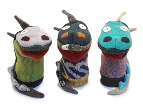 Cate & Levi - Hand Puppet - Premium Reclaimed Wool - Handmade in Canada - Machine Washable (Dragon)
