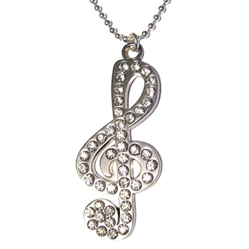 Musical Clef Note Big Swarovski Crystal Elements Pendant Silver Plated 18