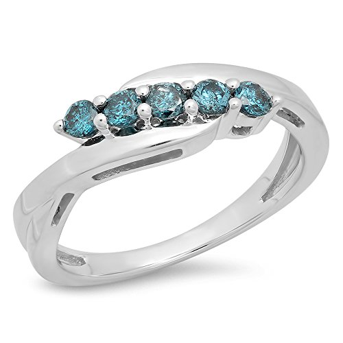 0.35 Carat (ctw) 925 Sterling Silver Round Blue Diamond Bridal Five Stone Wedding Band 1/3 CT (Size - Setting Round 5 Ring Stone