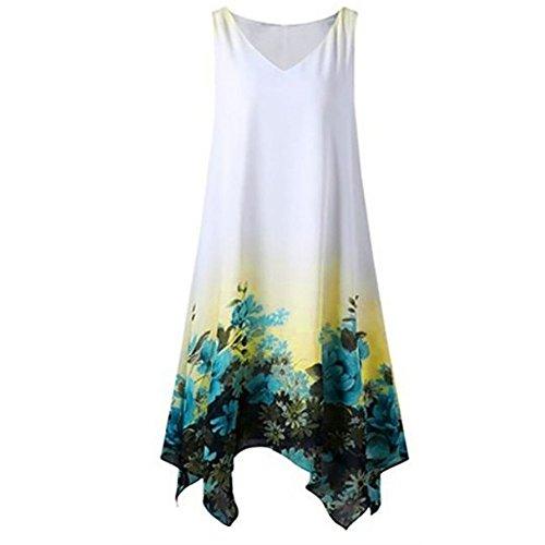 TnaIolral Women Dresses Floral Print Chiffon Sleeveless Irregular Hem Mini Skirt Green