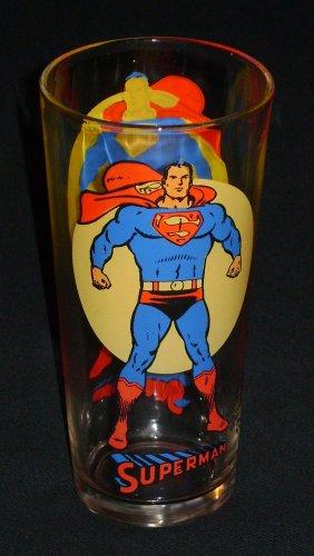 Superman Moon Glass Pepsi DC Comics Super Series Vintage 1976 Clean & Bright - Pepsi Vintage Glasses