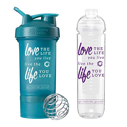 GOMOYO Love Life on BlenderBottle Brand ProStak Shaker Cup, 22 Ounce Protein Shaker Bottle with BlenderBall Whisk and Two Twist n Lock Attachable Containers