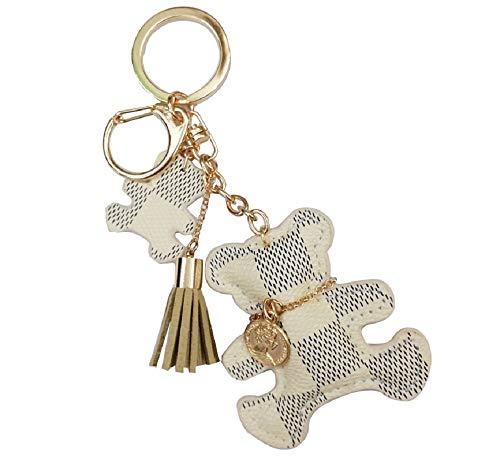 TOKO Leather Bear Keychains Bear Keyrings For Women Girls (White)