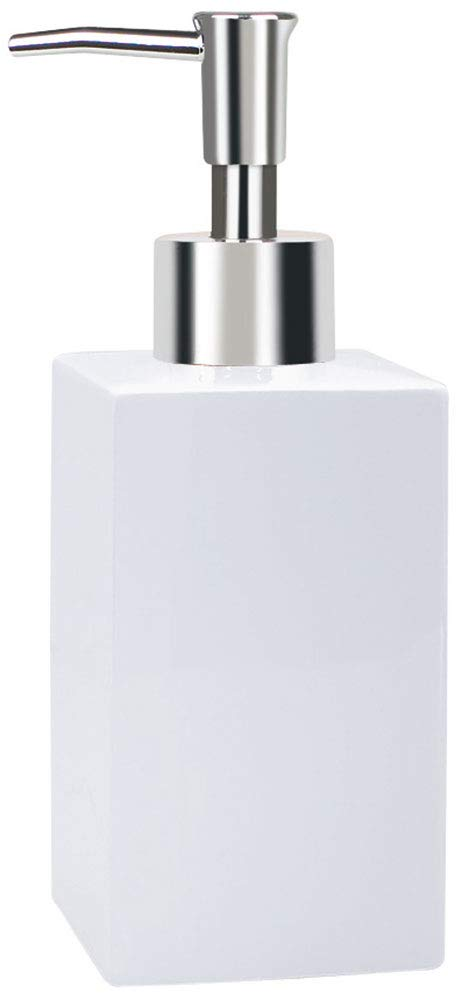 Blanco colecci/ón Quadro Porcelana Spirella 17,5 x 7,5 x 6,5 cm Dispensador de jab/ón l/íquido