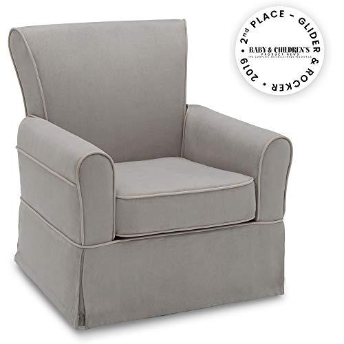 Delta Children Benbridge Glider Swivel Rocker Chair, Dove Grey with Soft Grey Welt