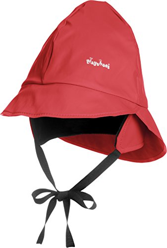 Playshoes Kids Waterproof Rain Hat with Fleece Lining (Large 53cm, Red)