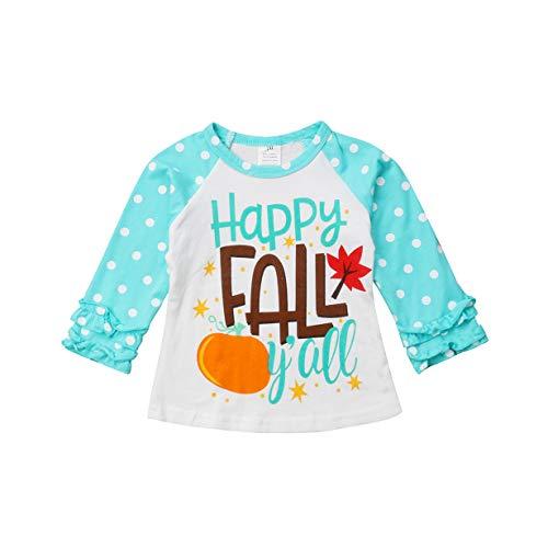 (Toddler Baby Kids Girl Unicorn Halloween Pumpkin Print Long Sleeve Cotton T-Shirt Top (2 T, Z Blue)