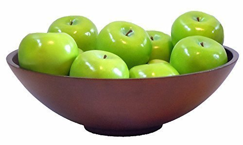 Artificial Green Apples - Decorative Fruit Fake Faux Large 3''x2.5'' Life-Like Granny Smith Set of 8 by Akasha
