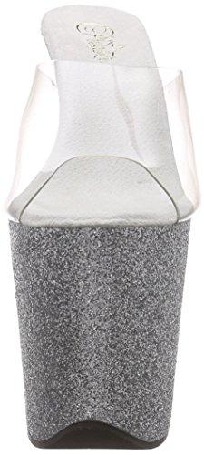 PleaserFLAMINGO-801SDG - Sandalias de Punta Descubierta Mujer Plateado - Silber (Silber (Clr/Slv Gltr))