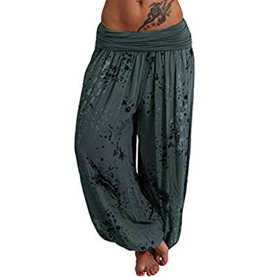 haoricu Women's Smocked Boho Yoga Drawstring Thai Harem Pants - Ideal Yoga Pant: Home Improvement