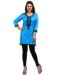 Maple Clothing Nylon Embroidered Women's Indian Kurti Tunic Top Blouse