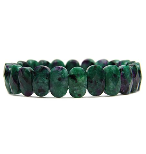 (Amandastone Ruby in Zoisite Gemstone 14mm Faceted Oval Beads Stretch Bracelet 7