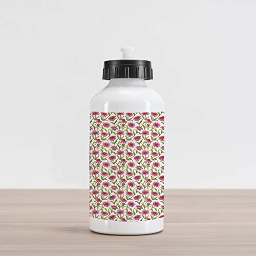 Ambesonne Daisy Aluminum Water Bottle, Fresh and Organic Echinacea Petals Floral Themed Image Healthy Wildflower Design, Aluminum Insulated Spill-Proof Travel Sports Water Bottle, Multicolor ()