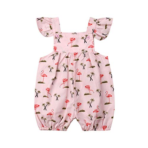 - Newborn Baby Girls Flamingo Print Flutter Sleeve Bubble Romper Button Ruffles Bodysuit Jumpsuit Playwear (Pink, 9-12 Months)
