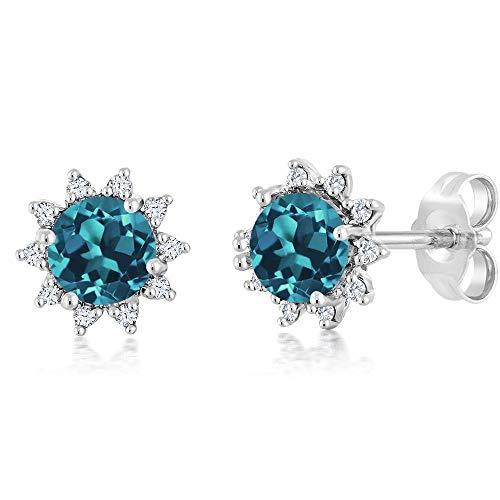 Gem Stone King 18K White Gold Diamond Stud Earrings Round 4mm London Blue Topaz 0.60 Ct