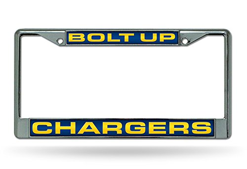 Rico Industries Los Angeles Chargers Bolt UP Laser Frame Chrome Metal License Plate Tag Cover