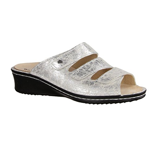 Finn Comfort Cremona - Zapatos mujer Zapato abierto / Chanclas de dedo, Gris, cuero (lavato)
